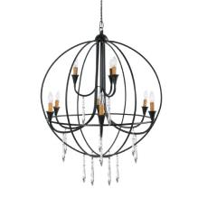 Where to rent Chandelier, Black Round 9 Lt w Crystals in Columbia MO