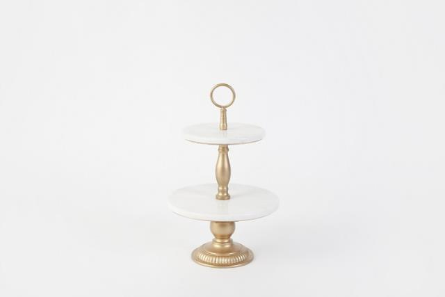 Where to find Tray, 2 Tier Marble Gold 21  Round in Columbia